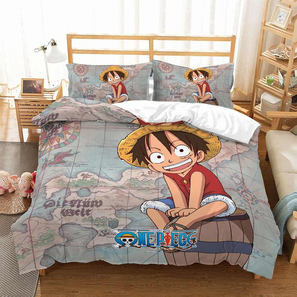 One Piece Anime Bedding Set Luffy Print Home Comforter Set Retro Map Compass Duvet Cover Set Boys Girl Single Double Bed Cover