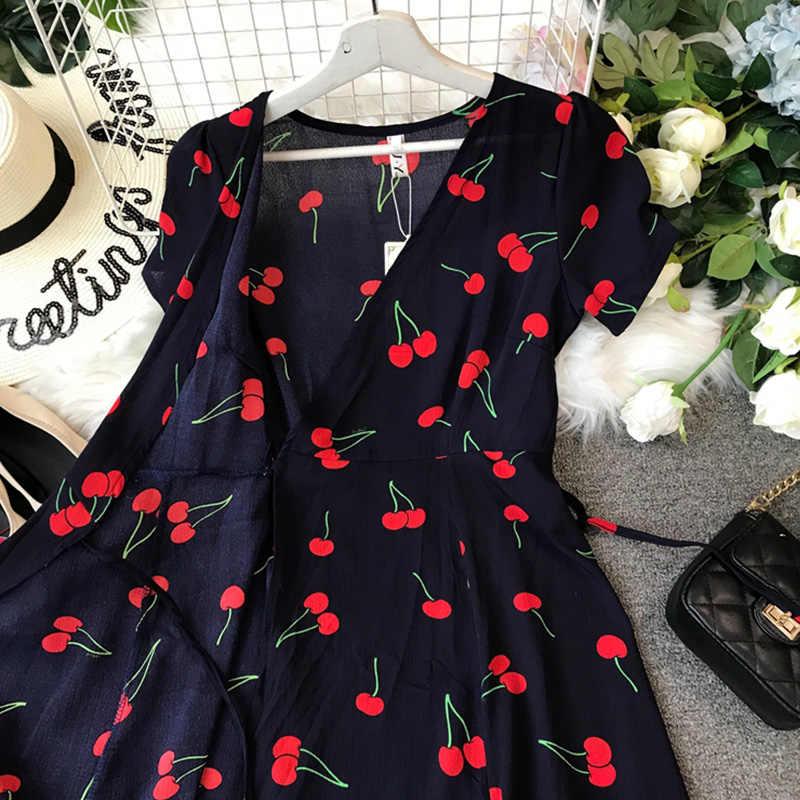 الشيفون المرأة الكرز المطبوعة فستان صيفي 2020 جديد قصير الأكمام خمر ضمادة مثير الخامس الرقبة فساتين aa762