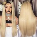 Em linha reta peruca de cabelo virgem peruano dois tons ombre cabelo humano perucas # 1b/#613 loira cheia do laço/parte dianteira do laço perucas de cabelo humano