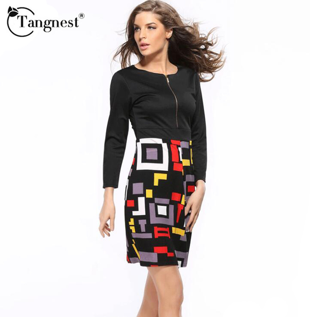 15a211956f80 TANGNEST Verano 2016 Mujeres New Fashion Solid Vestido Elegante Delgado  Señoritas Casual Rodilla-Longitud Vestido