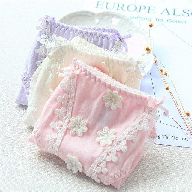 Japonês sweet algodão underwear rendas da menina de flor estéreo cintura  briefs cordas calcinha tanga calcinha 44728c8b02c
