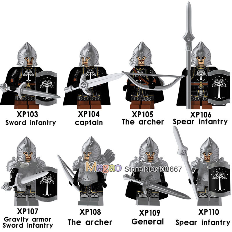 50 pcs lot Lord of the Rings ly Knight Soldier of Gondor Heavy Spear Sword Building