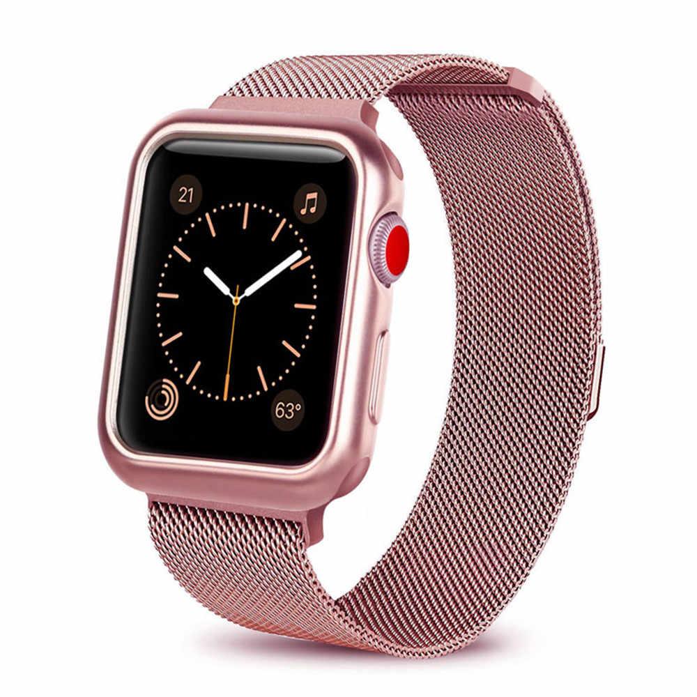 Чехол + ремешок для часов Apple watch 3 iwatch band 42 мм 38 мм Миланская петля браслет из нержавеющей стали ремешок для часов Apple Watch 4 3 21