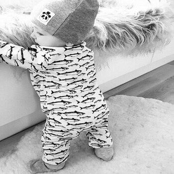 2018 new fish printed baby clothes newborn boy girl clothing long sleeve baby romper climbing clothes newborn set CR064 1