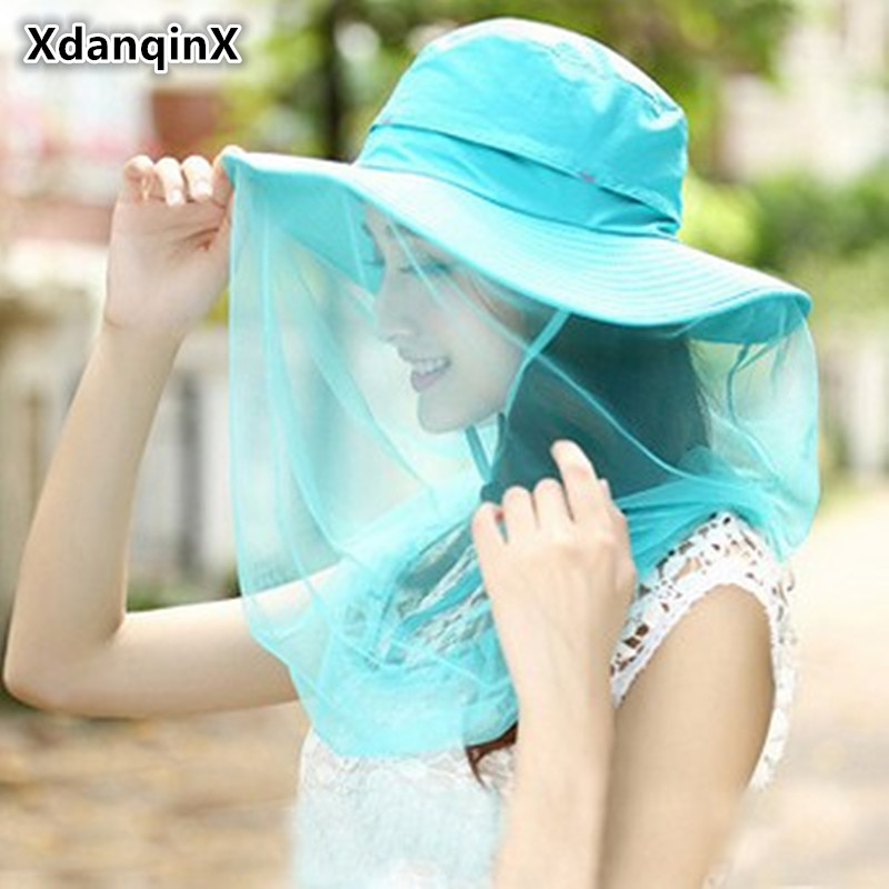 XdanqinX 2019 Sommar New Style Lady Folding Sun Hattar Fashion Fixed Veil Anti-mygga Anti-Wind Cover UV Beach Hat För Kvinnor