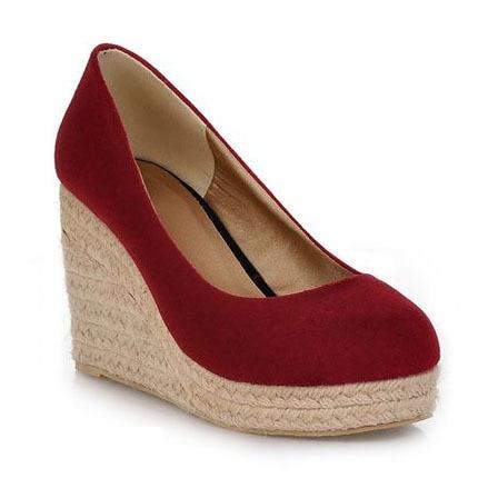 7cf0fc5f0bb 2014 New Sex High Heels Women Platform Wedge Shoes Round Toe Vintage Flock  Wedges for Women High Heels Women Pumps-in Women s Pumps from Shoes on ...