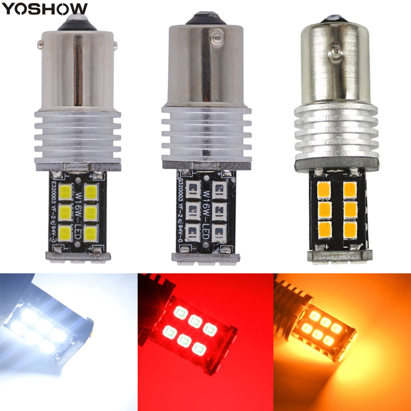 50PCS High Power 1156 BA15S Canbus 12V 24V DC 2835 15 SMD LED P21W Bulbs Auto car led Tail Turn Brake signal light Lamp White
