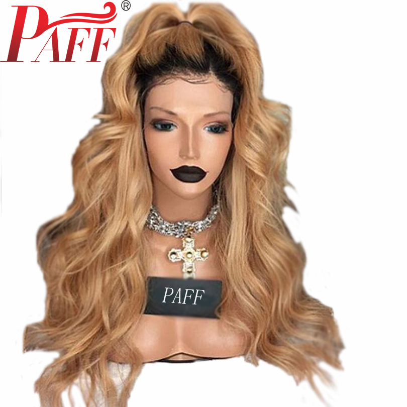PAFF Ombre Human Hair 360 Lace Frontal Wig Pre Plucked 1B/27 Honey Blonde Wavy Remy Hair Wig Brazilian With Baby Hair Free Part