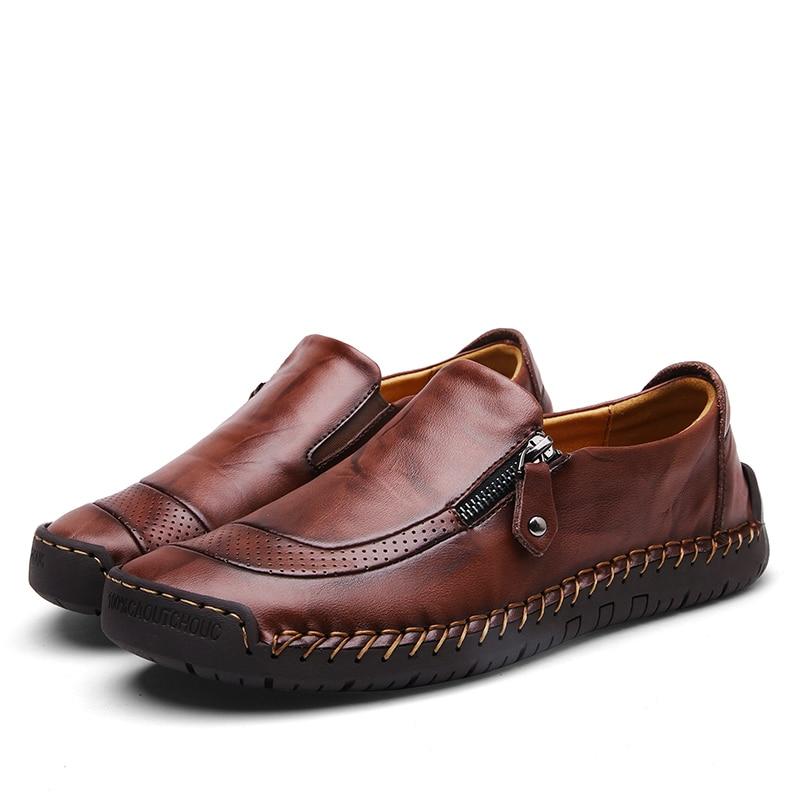 Classic Comfortable Casual Leather Shoes Men Loafers Shoes Split Leather Men Shoes Flats Hot Sale Moccasins Shoes Plus Size 2
