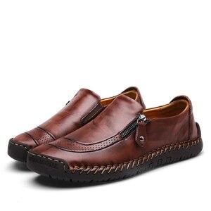 Image 3 - Klassieke Comfortabele Casual Schoenen Mannen Loafers Schoenen Split Lederen Mannen Schoenen Flats Hot Koop Mocassins Schoenen Plus Size