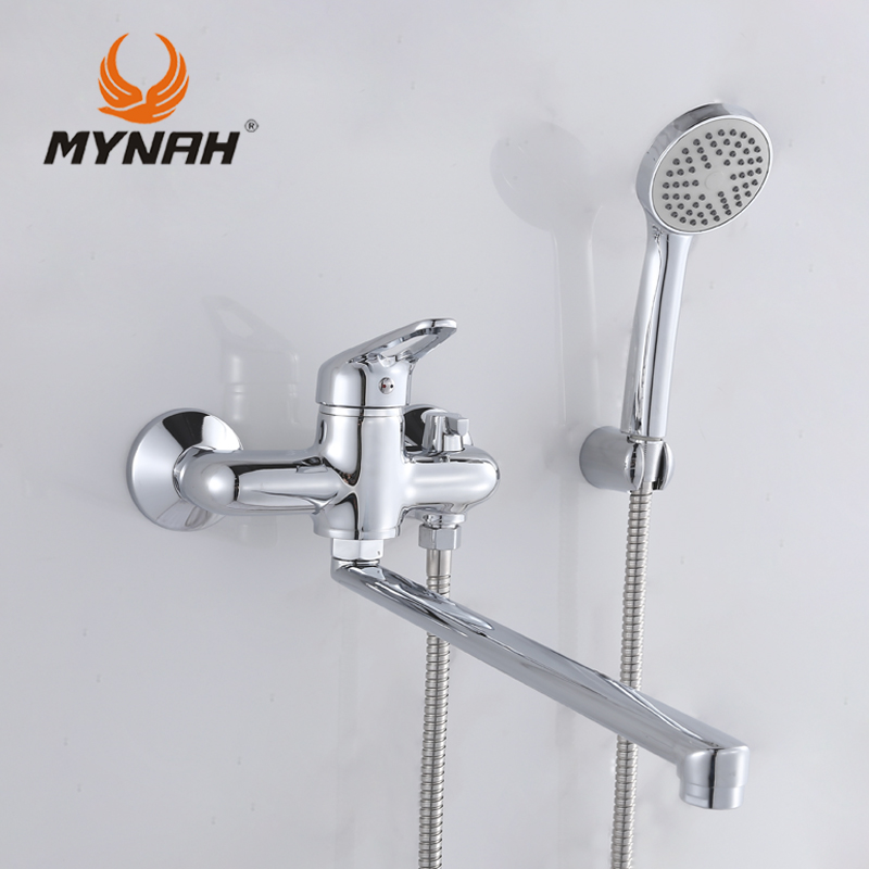 MYNAH M2217 Russia free shipping Bathroom Shower Faucet Bath Faucet Mixer Tap With Hand Shower Head Set Wall Mounted free shipping polished chrome finish new wall mounted waterfall bathroom bathtub handheld shower tap mixer faucet yt 5333