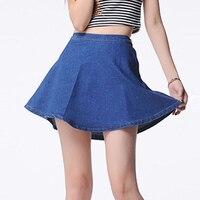 2017 Summer Women Minimalist Denim Jeans Skirt Ladies High Waist Side Out Zipper Casual Mini Skirt