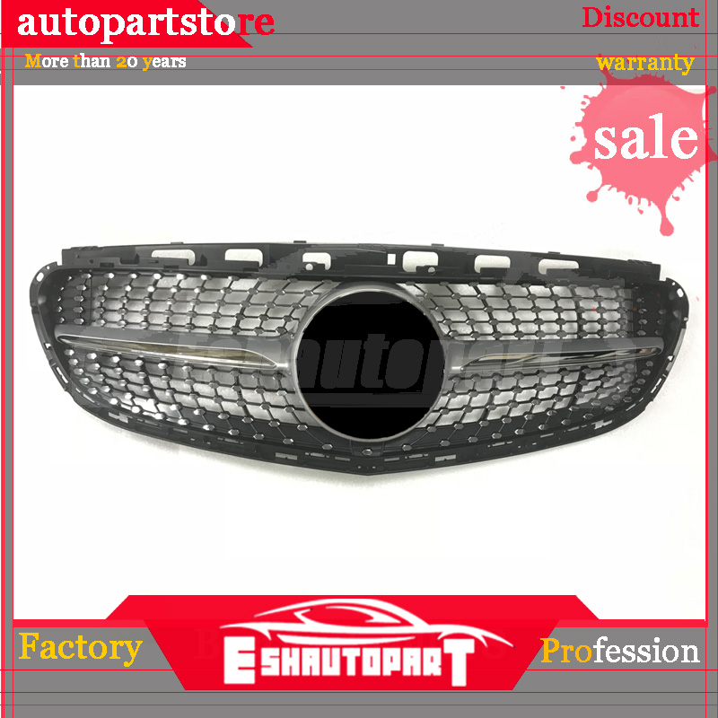 For NEW <font><b>Mercedes</b></font> E class <font><b>W212</b></font> sport Edition E180 E200 E260 E300 Diamond plastic <font><b>grille</b></font> mesh replacement Silver Color with Cam image