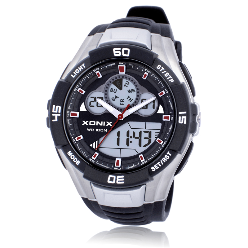 hot xonix men sports watches waterproof waterproof 100m analog digital watch running. Black Bedroom Furniture Sets. Home Design Ideas