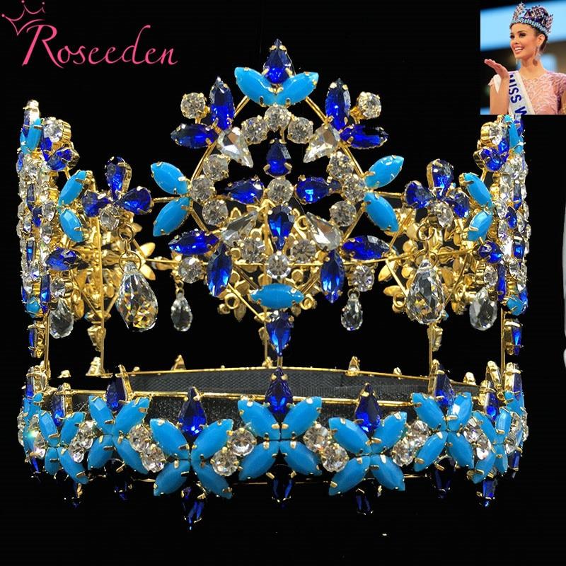 Baroque Full Round Miss World Crown Tiara With Blue Crystal Rhinestones Princess Queen Tiara RE3021