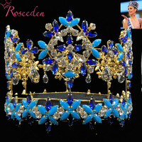 Baroque Full Round Miss World Crown Tiara With Blue Crystal Rhinestones Princess Queen Tiara RE3021
