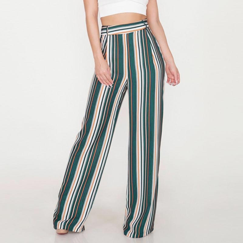 Womens Casual Summer High Waist Stripes Loose   Wide     Leg     Pants   Trouser Holiday