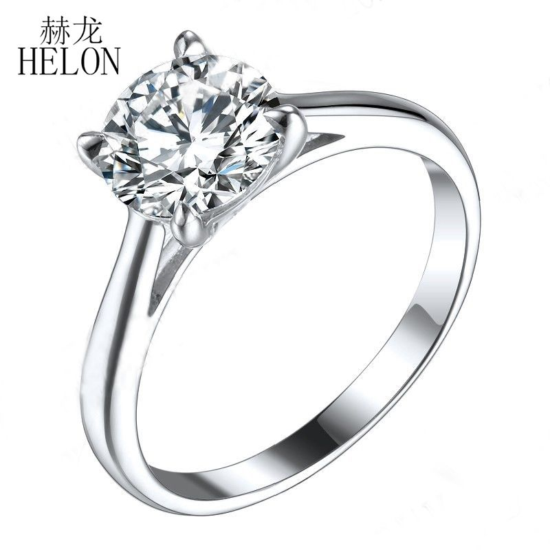 HELON 1.25ct Moissanites Ring Solid 10K White Gold Round 7mm Test Positive Lab Grown Moissanites Diamond Engagement Ring Women helon 1 25ct test positive lab grown moissanite engagement rings 10k solid white gold 0 06ct diamonds jewelry for women wedding