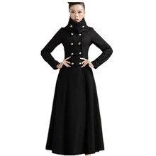 Размера плюс 3XL! Для женщин шерстяное пальто с воротником-стойкой, воротник в стиле «милитари» длиной до пола черный однобортный пальто из шерсти и синтетического волокна