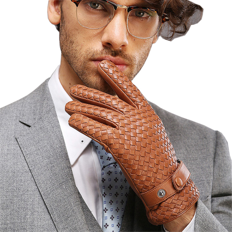Genuine Leather Men Gloves Fashion Casual Business Pure Hand Woven Sheepskin Glove High Quality Male Leather