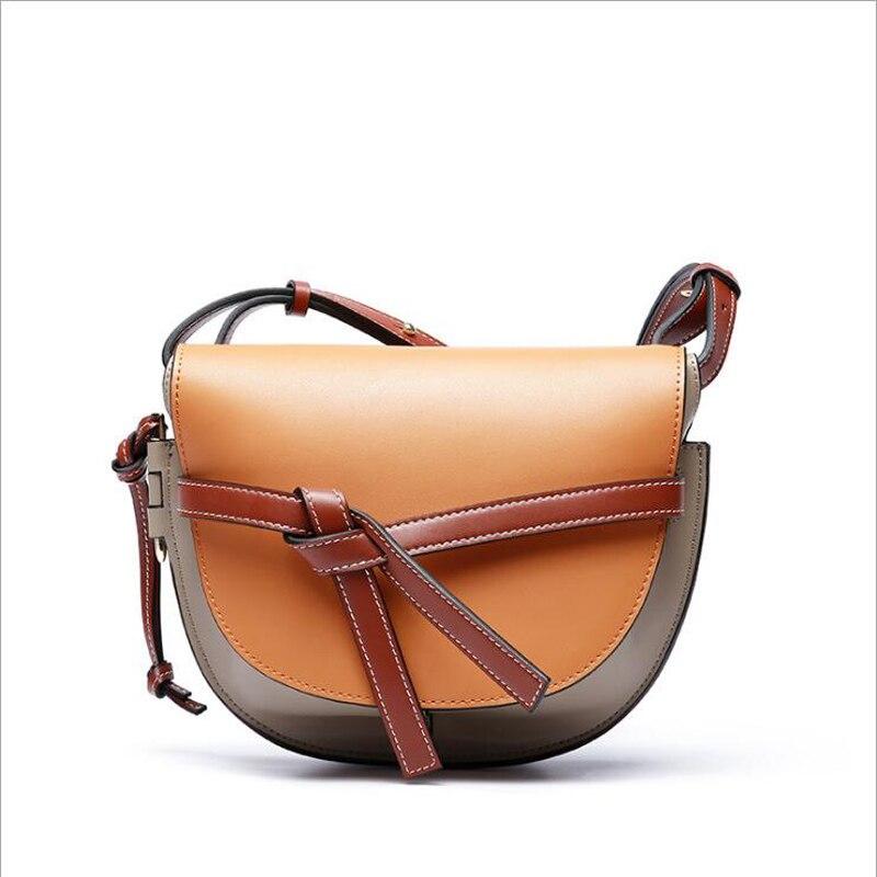 Luxury 100% Real Leather Women Designer Handbags Brand Cowhide Genuine Leather Women Shoulder Hit Color Female Messenger Bag 145 jonon luxury brand designer messenger bag women 100