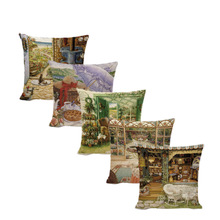 Retro Nordic Style Rock Chair Cushion Cover 45*45cm Store Tea Garden Fountain Plants Vintage Building Outdoor Decor Pillowcase