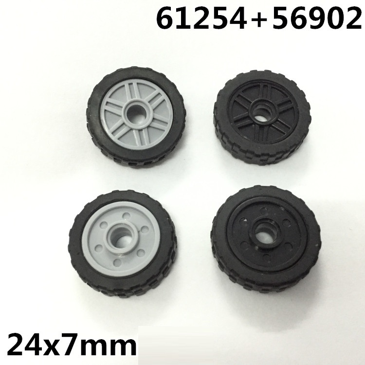 4pcs/set Block spare parts wheels 56902 + 61254 military weapons city Bricks building Block original toys for children