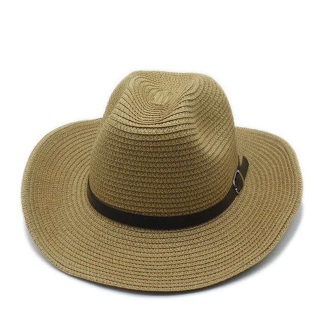 Moda mujer hombres verano paja plegable ala ancha Sombrero de vaquero para  caballero vaquera Jazz Seaside 901f70facdf