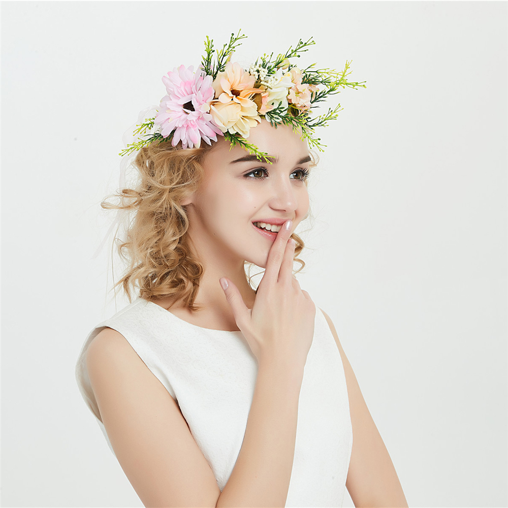 Natural Berries Reeds Flower Wreath Crown Hair Garland With