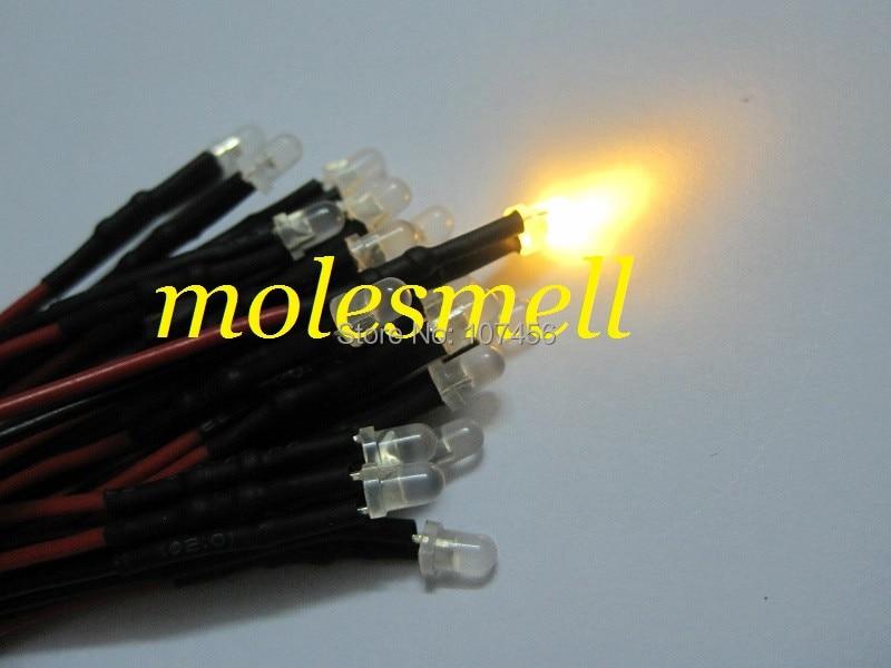 25pcs 3mm 24v diffused warm white 24V DC milky white lens 20cm Pre-Wired LED Light DIY free shipping