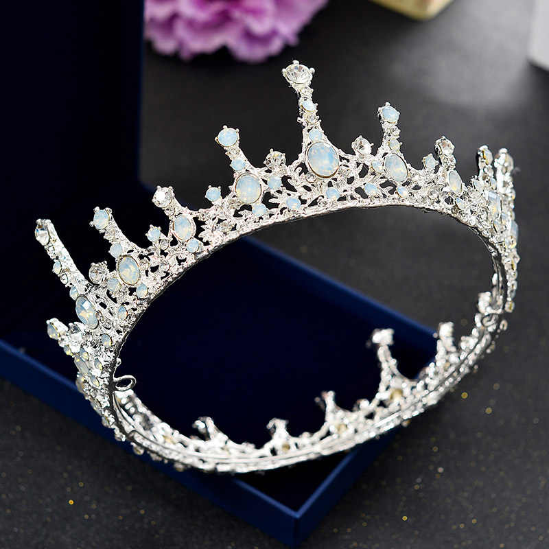 Baroque Bridal Headpiece Tiaras and Crowns Silver Wedding Princess Crown Chinese Hair Accessories Headdress Head Piece Jewelry