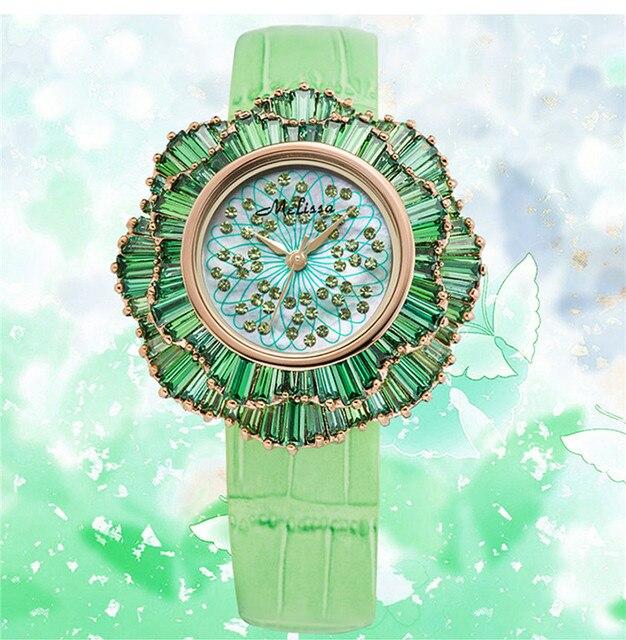 b360b30ef84 Exagerada Designer MELISSA Relógios Florais de Luxo Cristais Completa Mulheres  relógio de Pulso de Quartzo Japão