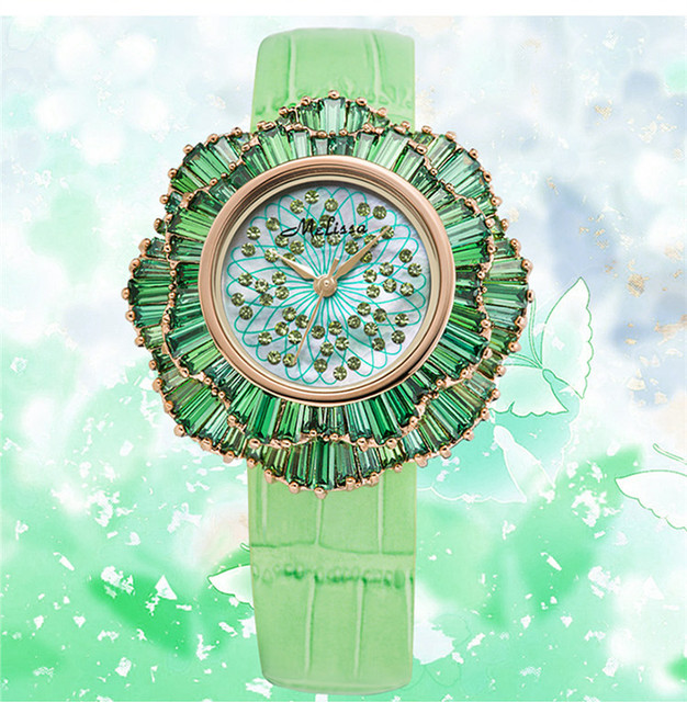 Exaggerated Designer MELISSA Floral Watches Luxury Full Crystals Women Wrist watch Japan Quartz Relogios Feminino Montre MP513A