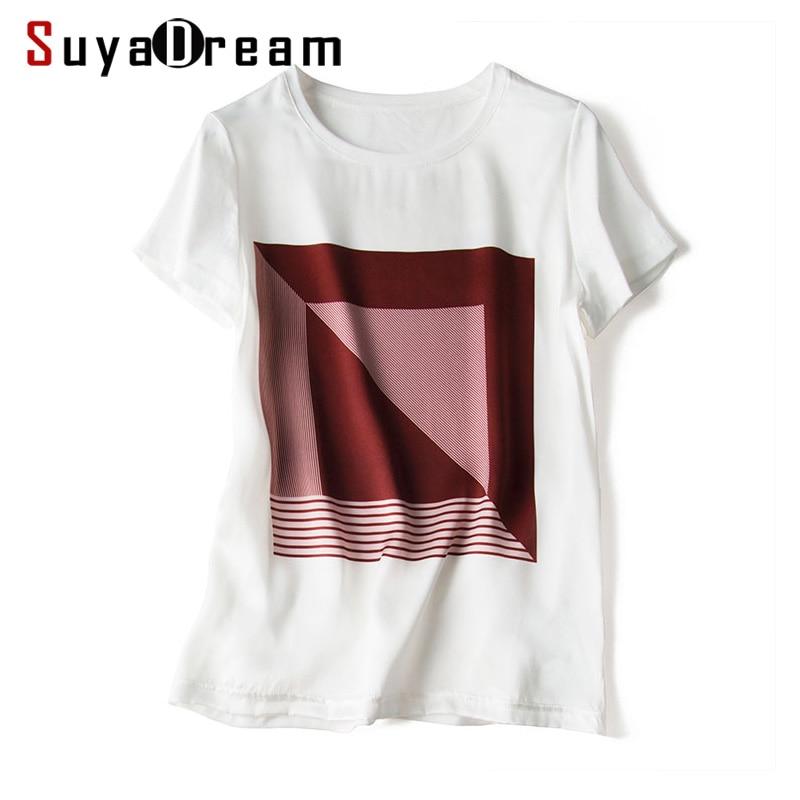Women T shirt SILK and Cotton Front Print Shirt Short Sleeved Casual O neck T shirt