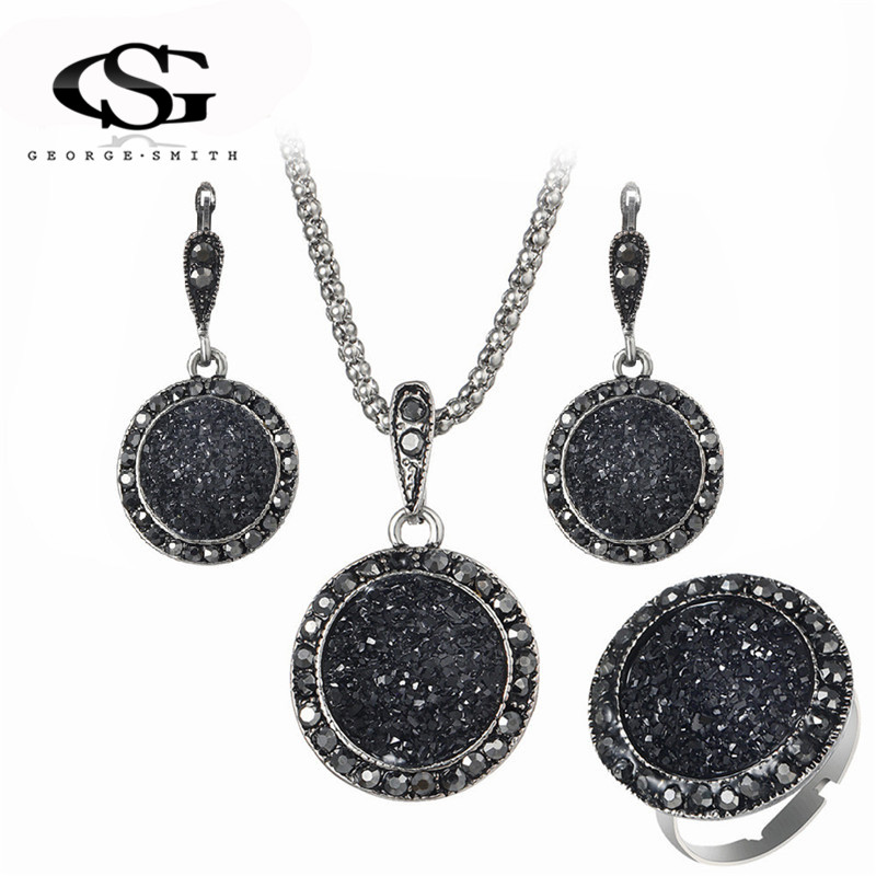 GS Crystal Jewelry Set Ladies Geometric Round Charm Black Pendant Necklaces Drop Earrings Jewelry Sets R3