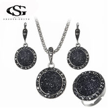 GS Crystal Jewelry Set For Women Ladies Geometric Round Charm Black Pendant Necklaces Drop Earrings Fashion Jewelry Sets 2018 G3(China)