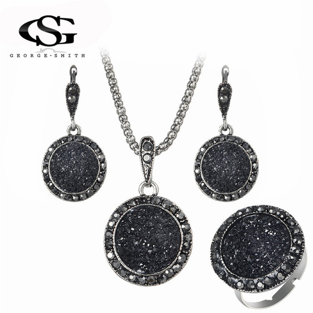 GS Crystal Jewelry Set For Women Ladies Geometric Round Charm Black Pendant Neck