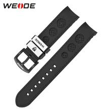 WEIDE Original Brand Sports Men's Watch PU Strap With Stainless Steel Buckle Black Color 22mm Soft High Quality Watch Band(China)