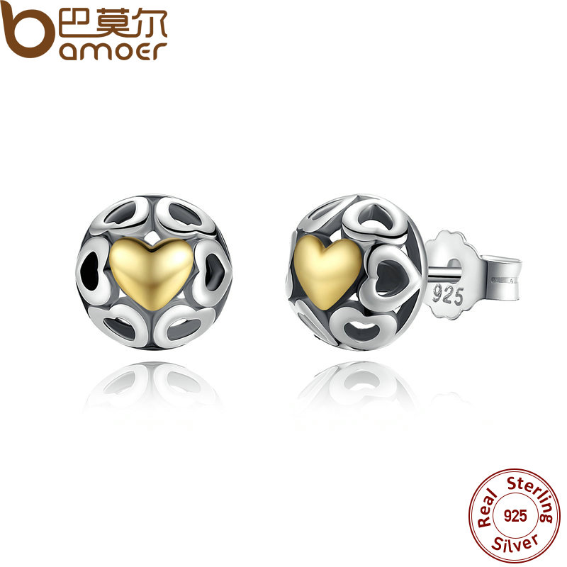 BAMOER Brincos 925 Sterling Silver My One True Love Stud Earrings for Women Openwork Heart Earrings Fine Jewelry PAS443 tl love heart earrings for women stainless steel silver hot earrings simple design open cross earrings