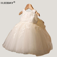 New Born Princess Flower Girl Dress For Wedding Party High Quality Bridesmaid Kids Bow Sleeveless Lace