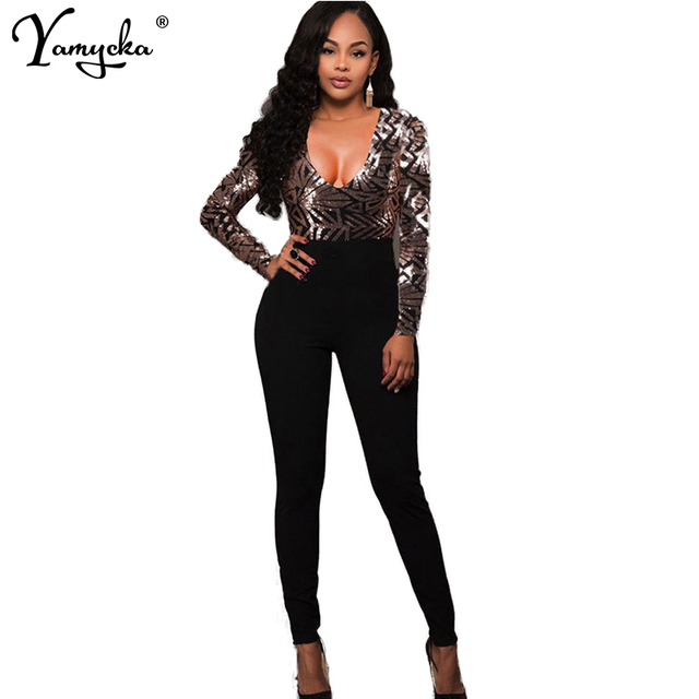 a5eea420f236 2018 Autumn Winter Sexy Women Body Long Sleeves Gold Sequins Jumpsuit  Elegant Catsuit Embroidery Romper V Neck Bodysuit Overalls