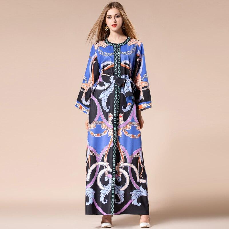 Femme La Longues De Femmes Floral Col Split Longue Plus Vintage Robe Lâche Nouveau Ceintures Xxxl Haut Taille Maxi O Multi Manches Evwq1
