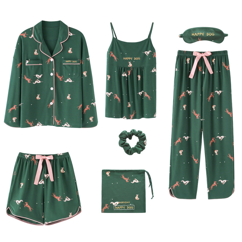 QWEEK Cotton Pajama Women 7 Pieces Set Casual Sleepwear 2019 Autumn Sexy Woman Nightie Home Clothes Female Shorts Pants
