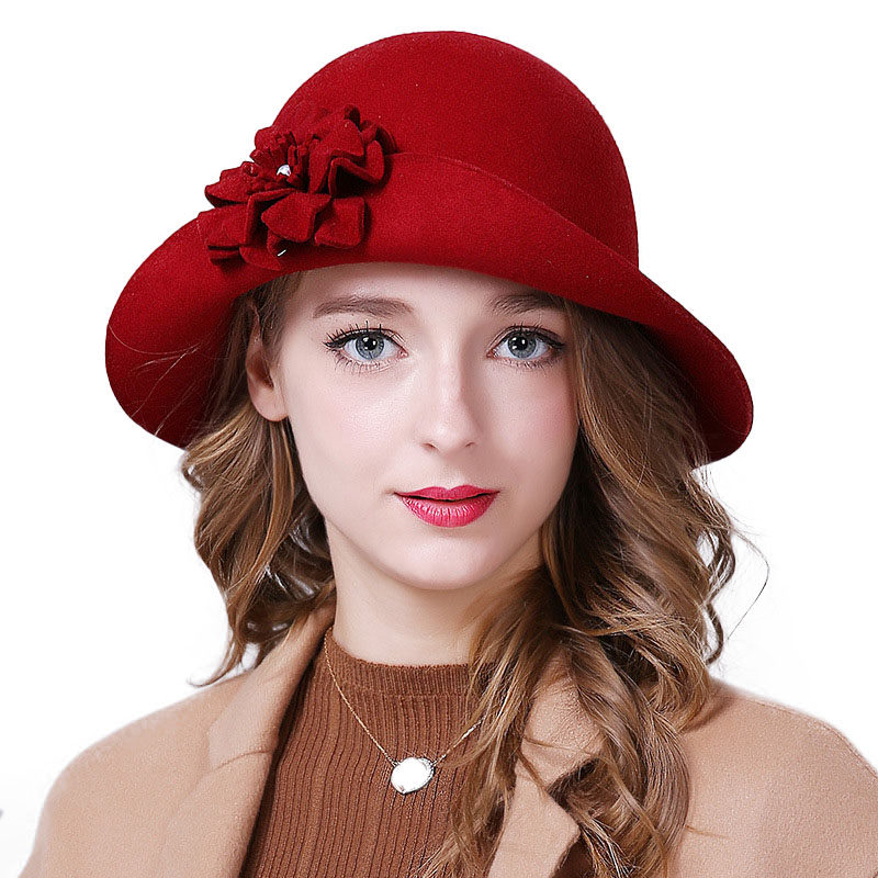 9e68051c658b6b ... Women Wool Felt Fedora Flowers Hat Ladies Wide Brim Hat Autumn Winter  Noble European American Elegant ...