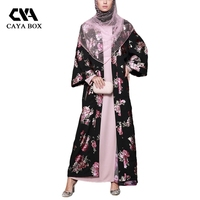 2018 Summer Large Sizes Muslim Party Cardigan Robes Floral Printed Laides Clothing Women Long Robe