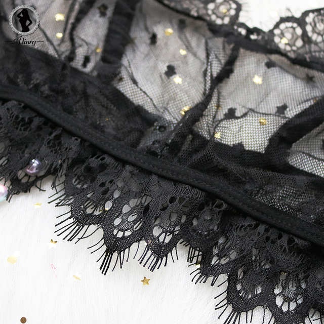 Sexy floral lace mesh transparent wire free bra set