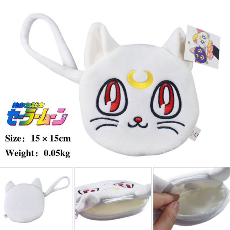 Anime Sailor Moon Plush White Cotton Flannel Penny Bag Coin Purse Zero Wallet Jewelry Pouch
