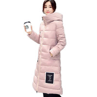 New 2017 Woman Winter Coats And Jackets Slim Long Sleeve Thick Hooded Plus Size Medium Long