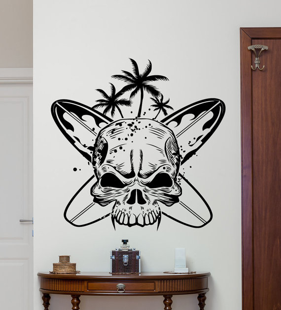 Art skull with surfboards surf skull wall decals home - Cheap wall decals for living room ...