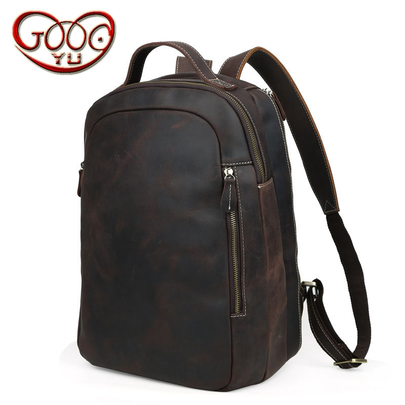 Europe and the United States selling crazy horse leather men's shoulder bag leisure bag leather computer backpack aetoo new front cowhide retro leather shoulder bag men travel backpack europe and the united states crazy horse leather